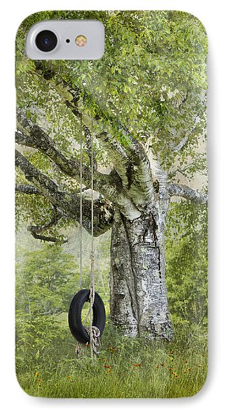 Tire Swing Hanging Off A White Birch IPhone Case