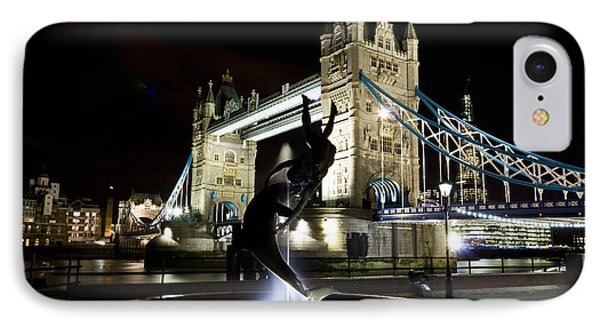 Tower Bridge With Girl And Dolphin Statue IPhone Case