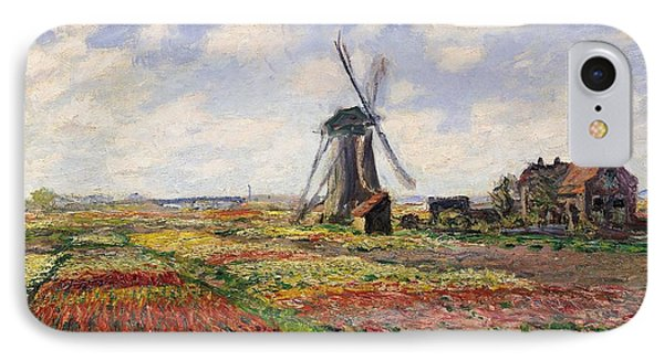 Tulip iPhone 8 Case - Tulip Fields With The Rijnsburg Windmill by Claude Monet