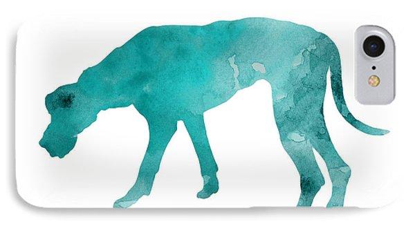 Dog iPhone 8 Case - Turquoise Great Dane Watercolor Art Print Paitning by Joanna Szmerdt