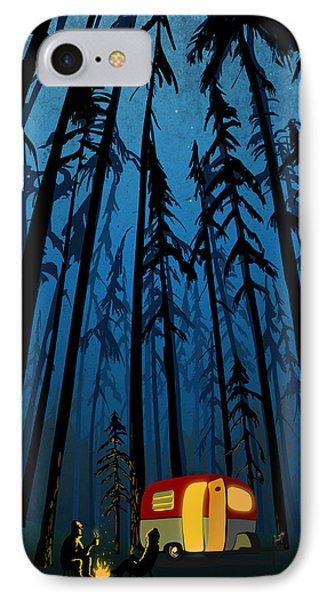Wood iPhone 8 Case - Twilight Camping by Sassan Filsoof