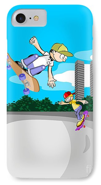 Two Boys Having Fun In The Skate Park With Their Skateboards IPhone Case