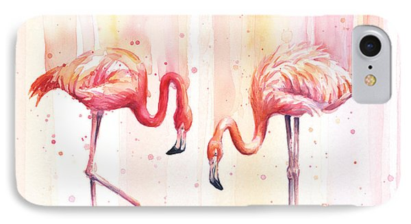 Two Flamingos Watercolor IPhone Case