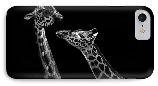 Two Giraffes In Black And White IPhone Case
