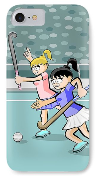 Two Girls Playing Field Hockey IPhone Case
