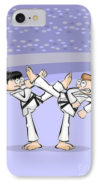 Two Men Fight By Throwing Powerful Karate Kicks In An Exhibition Of Martial Dexterity In A Stadium IPhone Case