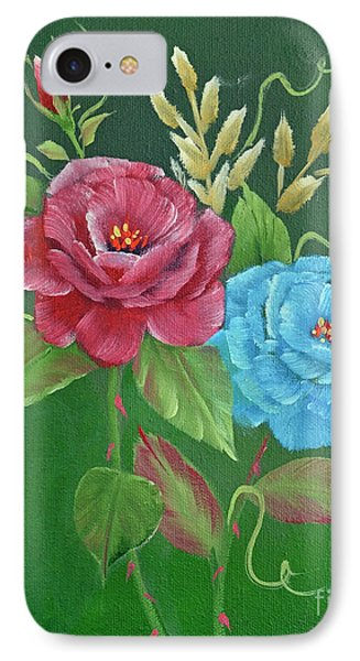 Two Roses Red And Blue IPhone Case