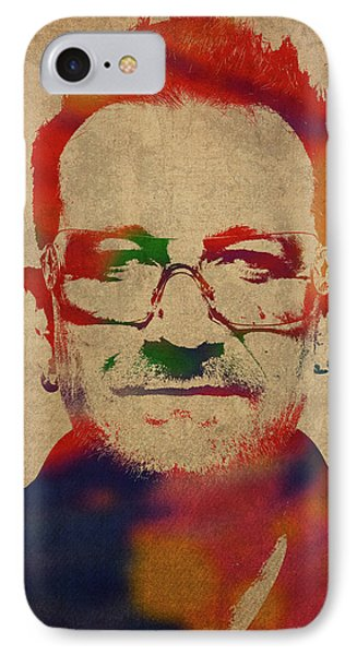 U2 Bono Watercolor Portrait IPhone Case