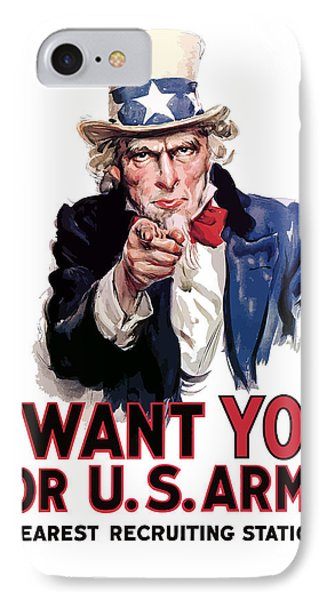 American iPhone 8 Case - Uncle Sam -- I Want You by War Is Hell Store