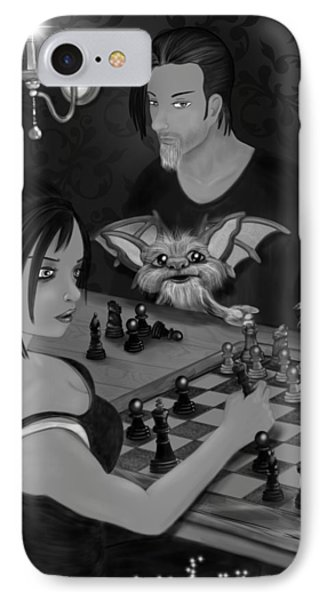 Unexpected Company - Black And White Fantasy Art IPhone Case