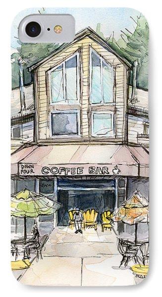 Coffee Shop Watercolor Sketch IPhone Case