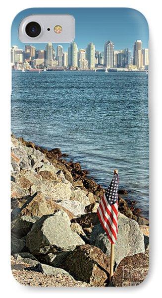 Usa Flag And San Diego Skyline IPhone Case