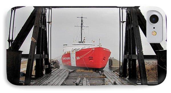 Uscgc Mackinaw Framed By Railroad Elevator IPhone Case