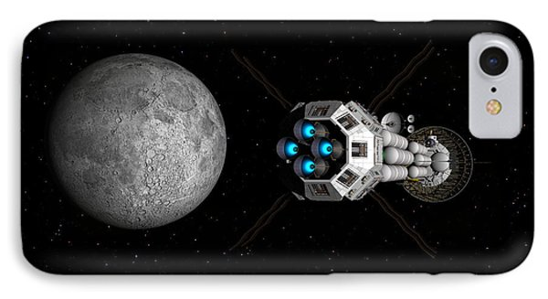 Uss Savannah Passing Earth's Moon IPhone Case