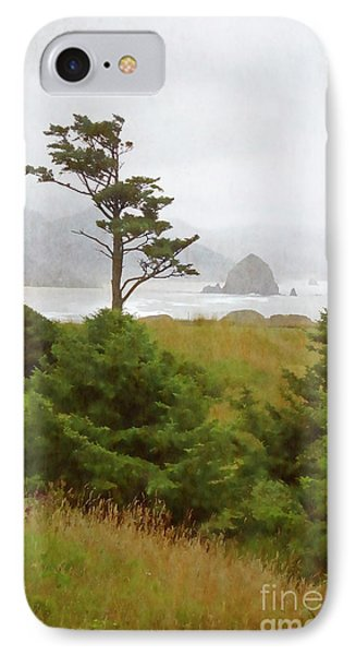 View Of Cannon Beach In The Fog IPhone Case