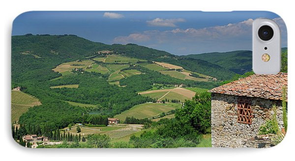 View Of Vineyards And Ancient Hillside House From Radda In Chian IPhone Case