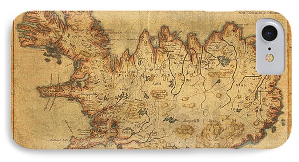 Vintage Antique Map Of Iceland IPhone Case
