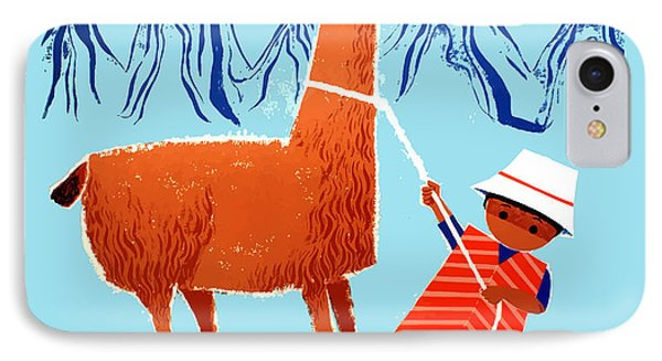 Vintage Child And Llama Peru Travel Poster IPhone Case