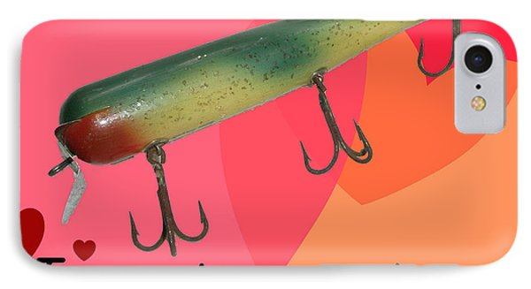 iPhone 8 Case - Vintage Fishing Lure Valentine Card by Mother Nature