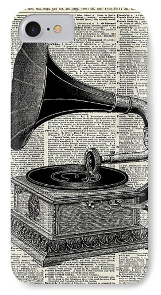 White iPhone 8 Case - Vintage Gramophone by Anna W