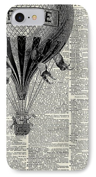 Beautiful iPhone 8 Case - Vintage Hot Air Balloon Illustration,antique Dictionary Book Page Design by Anna W