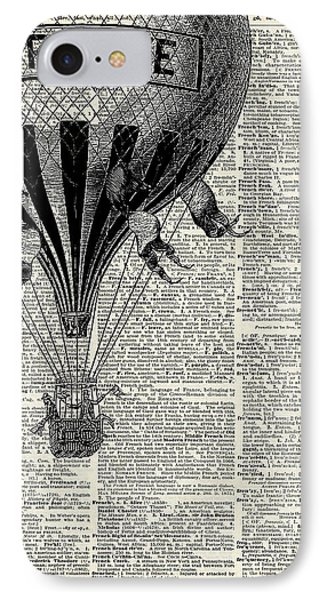 Sky iPhone 8 Case - Vintage Hot Air Balloon Illustration,antique Dictionary Book Page Design by Anna W
