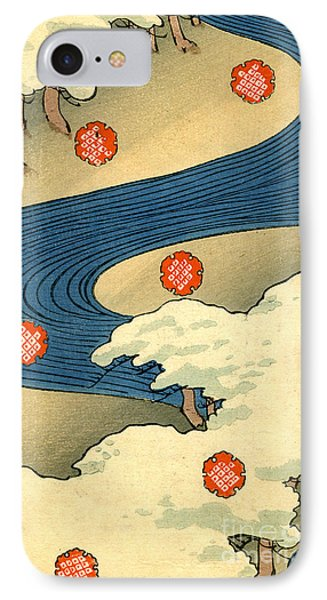 Vintage Japaneses Illustration Of Falling Snowflakes In An Abstract Winter Landscape IPhone Case
