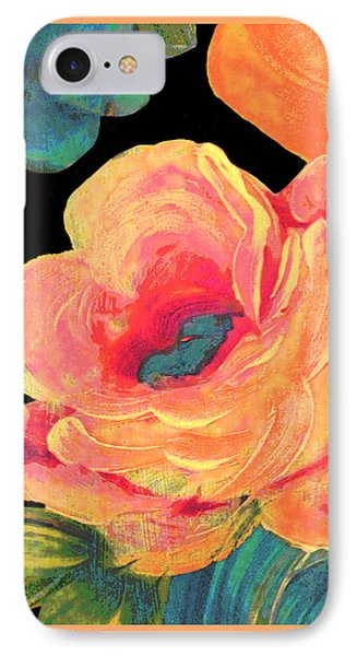 IPhone Case featuring the painting Vintage Rose On Black by Lisa Weedn