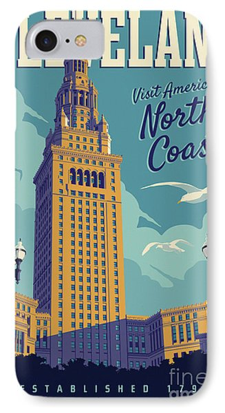Vintage Style Cleveland Travel Poster IPhone Case