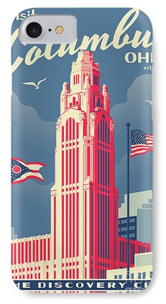 Vintage Style Columbus Travel Poster IPhone Case