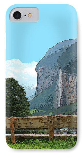 Vintage Switzerland Alps And Waterfall IPhone Case