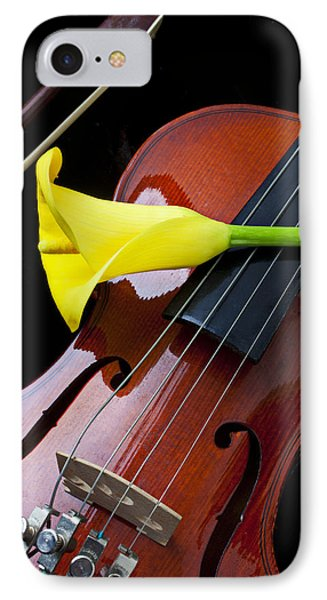 Music iPhone 8 Case - Violin With Yellow Calla Lily by Garry Gay