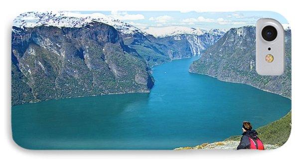 Visitor At Aurlandsfjord IPhone Case
