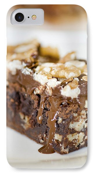 Walnut Brownie On A White Plate IPhone Case