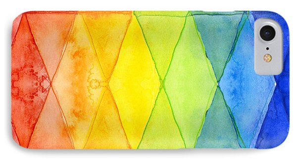 Shapes iPhone 8 Case - Watercolor Rainbow Pattern Geometric Shapes Triangles by Olga Shvartsur