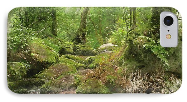 Watercolour Painting Of Becky Falls Waterfall Landscape In Dartmoor National Park England IPhone Case