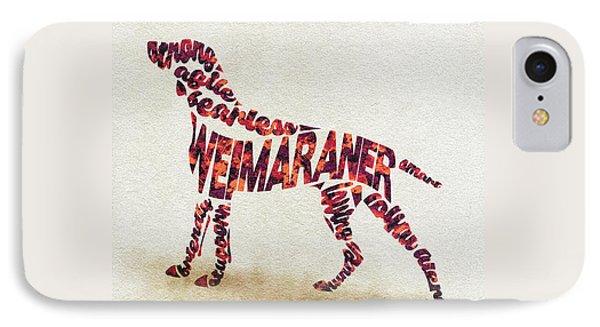 Weimaraner Watercolor Painting / Typographic Art IPhone Case