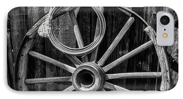 Western Rope And Wooden Wheel In Black And White IPhone Case