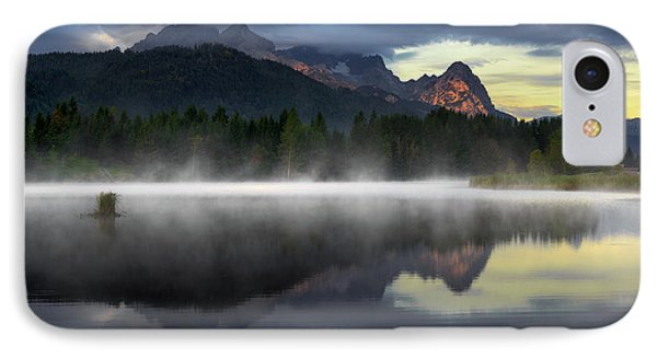 Wetterstein Mountain Reflection During Autumn Day With Morning Fog Over Geroldsee Lake, Bavarian Alps, Bavaria, Germany. IPhone Case