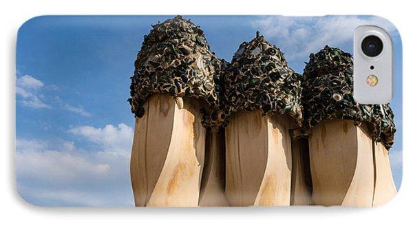 Whimsical Chimneys - Antoni Gaudi Bottle Glass Trio At Casa Mila IPhone Case