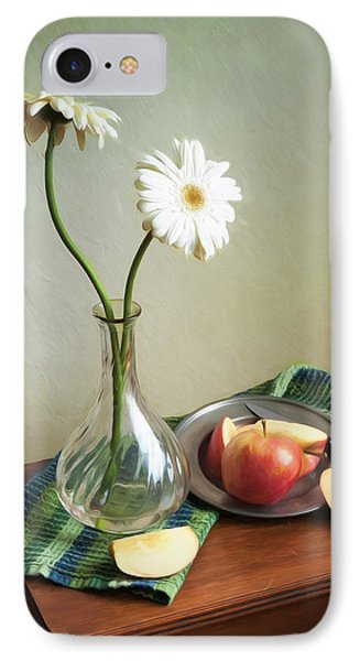 White Flowers And Red Apples IPhone Case