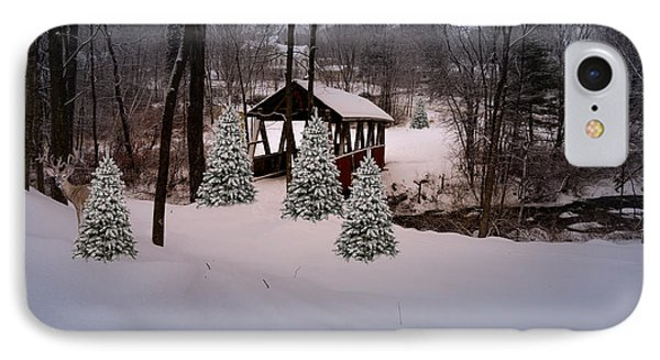 White Tailed Buck At Belmont N H Covered Bridge IPhone Case
