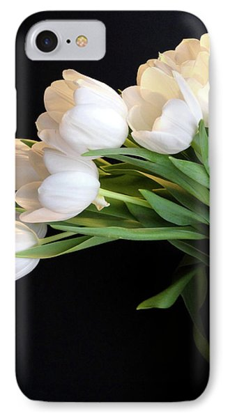 White Tulips In Blue Vase IPhone Case