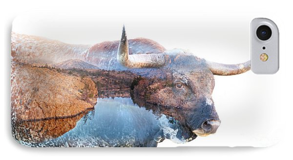 Wild Longhorn Bull And Lake Double Exposure IPhone Case