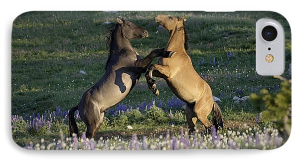 Wild Mustangs Playing 1 IPhone Case
