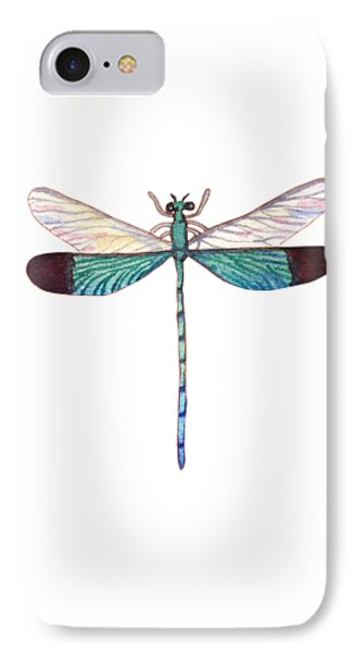 IPhone Case featuring the painting Winged Jewels 1, Watercolor Tropical Dragonfly Aqua Blue Black by Audrey Jeanne Roberts