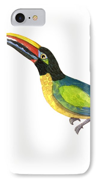 IPhone Case featuring the painting Winged Jewels 2, Watercolor Toucan Rainforest Birds by Audrey Jeanne Roberts