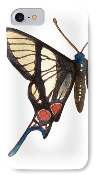 IPhone Case featuring the painting Winged Jewels 4, Watercolor Tropical Butterflie Black White Red Spots by Audrey Jeanne Roberts