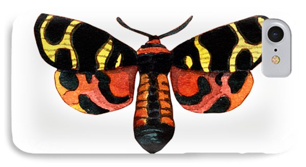 IPhone Case featuring the painting Winged Jewels 5, Watercolor Moth Black Yellow Orange And Red Tropical by Audrey Jeanne Roberts