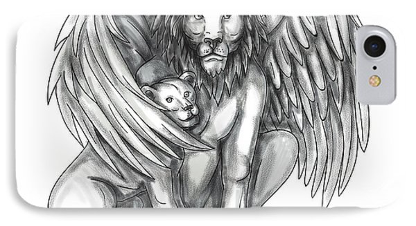 Winged Lion Protecting Cub Tattoo IPhone Case